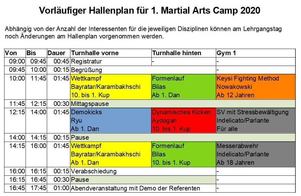 Taekwondo - 1. Martial Arts Campus am 29. Februar 2020 - Vorläufiger Hallenplan